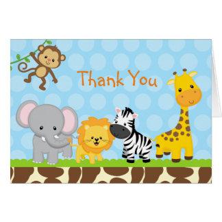 Safari Jungle Animals Folded Thank You Note Cards