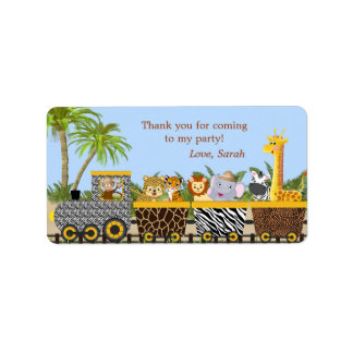 Safari Jungle Animals in Train Favor Tags Label