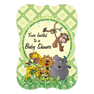 Safari Jungle Baby Animals 13 Cm X 18 Cm Invitation Card
