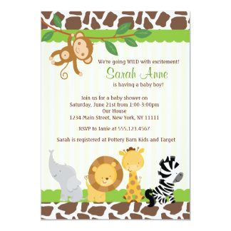 Safari Baby Shower Invitations Announcements Zazzlecomau