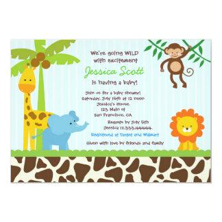 """Safari Jungle Baby Shower Invitations 5"""" X 7"""" Invitation Card"""