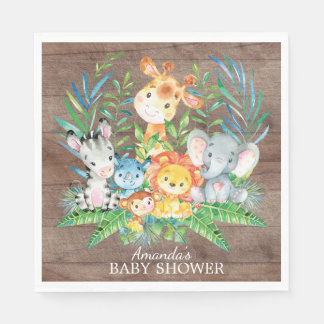 Safari Jungle Baby Shower Paper Napkins Disposable Serviette