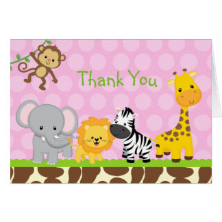 Safari Jungle Birthday Folded Thank You Note Cards