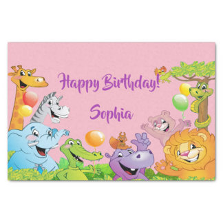 Safari jungle birthday party smiling animals pink tissue paper