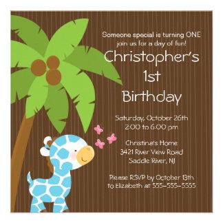 Safari Jungle Blue Giraffe Kid Birthday Party Custom Announcements