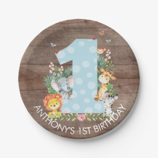 "Safari Jungle Boys 1st Birthday 7"" Plate"