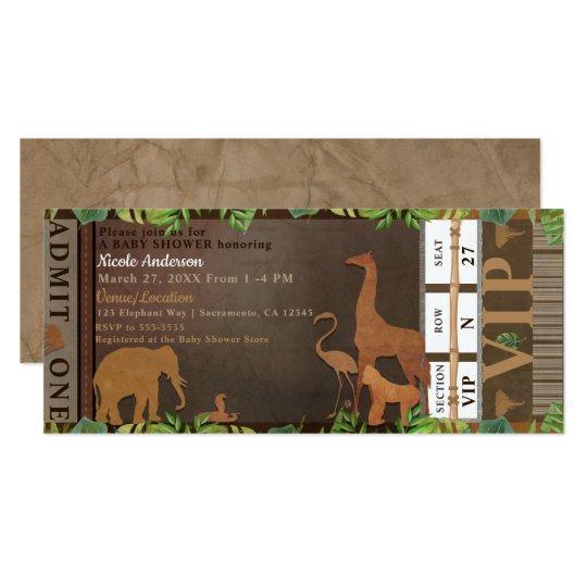 Safari Jungle Brown Animals Baby Shower Ticket Card