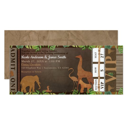 Safari Jungle Brown Animals Wedding Ticket Card