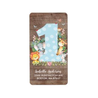 Safari Jungle Fun One 1st Birthday Address Label