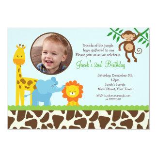 """Safari Jungle Photo Birthday Invitations 5"""" X 7"""" Invitation Card"""