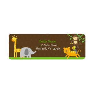 Safari Jungle Zoo Animals Return Address Labels