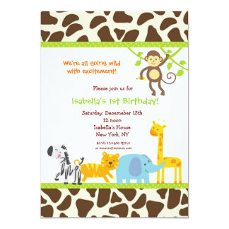 Safari Jungle Zoo Birthday invitations