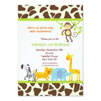 "Safari Jungle Zoo Birthday invitations 5"" X 7"" Invitation Card"