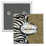 Safari Leopard and Zebra Print Monogram Buttons
