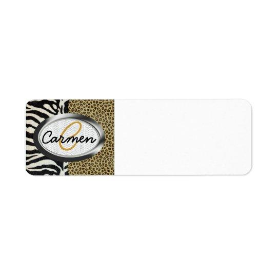 Safari Leopard and Zebra Print Monogram Return Address Label
