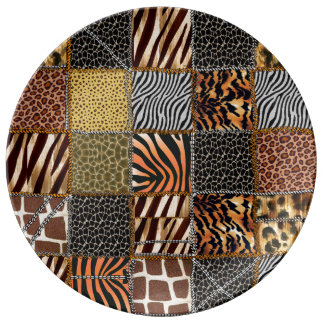 Safari patchwork  Decorative Porcelain Plate