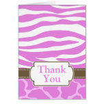 Safari Print Thank You Card - Pink