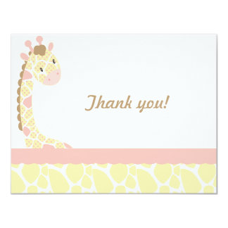 Safari Sweetness Giraffe  Thank you note-Pink-Yell Card