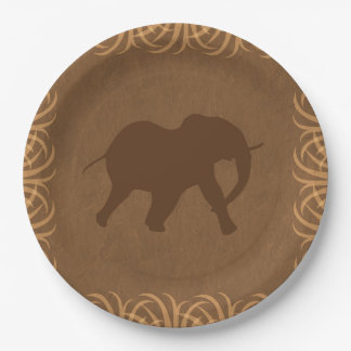 Safari Theme Elephant with Tall Grass Border Paper Plate