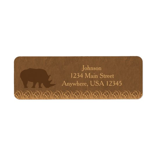 Safari Theme | Rhino Silhouette |  Personalised Return Address Label
