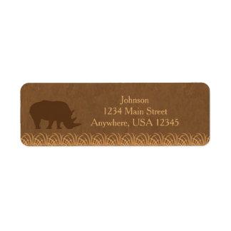 Safari Theme | Rhino Silhouette |  Personalized Return Address Label