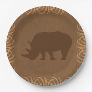 Safari Theme Rhino with Tall Grass Border Paper Plate