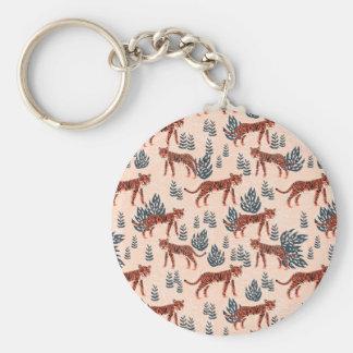 Safari Tiger Blush Coral Girls / Andrea Lauren Basic Round Button Key Ring