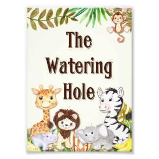 Safari Watering Hole Sign, Baby Shower Sign, Baby Photo