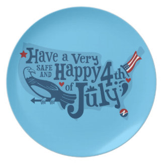Safe And Happy 4th Of July Party Plates