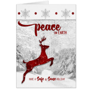 Safe and Sane Sobriety Peace on Earth Red Reindeer Greeting Card