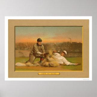 Safe At Third Baseball Card 1911 Poster