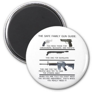 SAFE FAMILY GUN GUIDE 6 CM ROUND MAGNET