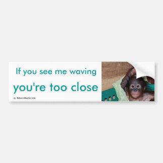 Safe, Friendly Driving Ape  Waving Hello Bumper Sticker