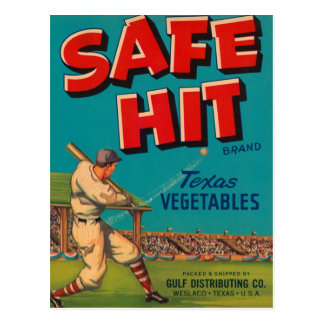 Safe Hit Texas Vegetables Crate Label Postcard
