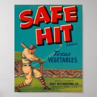 Safe Hit Vintage Crate Label - Baseball Print