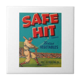 Safe Hit Vintage Crate Label - Baseball Tile