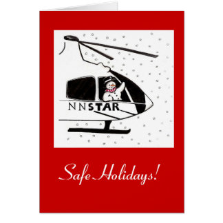 Safe Holidays Snowman and Helicopter Card