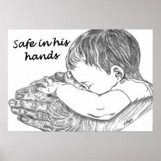 Safe In His Hands Original Artwork by D. Boggs Poster