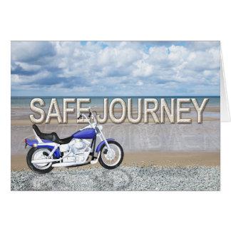 Safe journey card with a motor bike