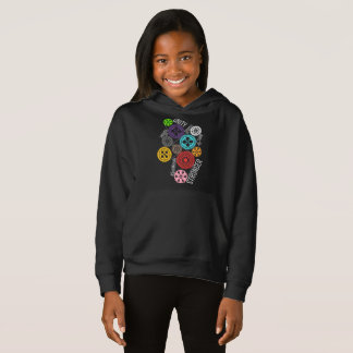 Safe With Me Cogs Girl's Dark Hoodie