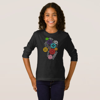 Safe With Me Cogs Girl's Dark Long Sleeve T-Shirt