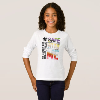 Safe With Me Watercolor Girl's Long Sleeve T-Shirt