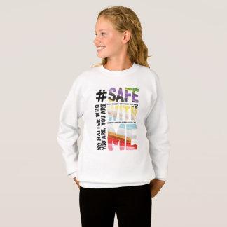 Safe With Me Watercolor Girl's Sweatshirt
