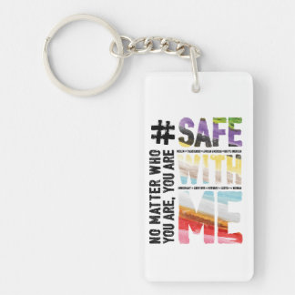 Safe With Me Watercolor Key Chain