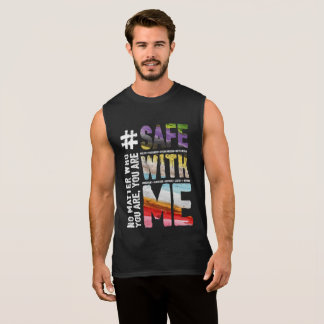 Safe With Me Watercolor Men's Dark Muscle Tank