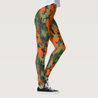 Safety Blaze Orange and Green Camo Leggings