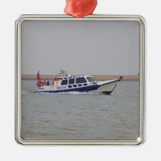 Safety Boat Silver-Colored Square Decoration