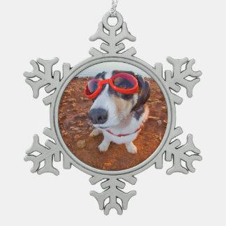 Safety Dog Pewter Snowflake Decoration