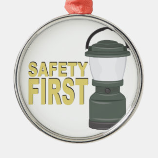Safety First Silver-Colored Round Decoration