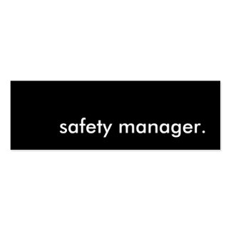 safety manager. pack of skinny business cards